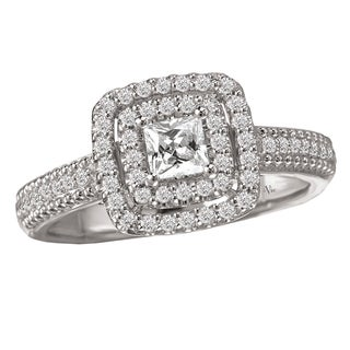 14k White Gold 1/2ct TDW Round Diamond Halo Engagement Ring (G-H, SI1-SI2)