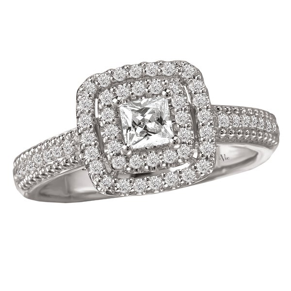 Avanti 14k White Gold 1/2ct TDW Round Diamond Halo Engagement Ring (G-H, SI1-SI2)
