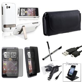 BasAcc Black Leather Pouch/ Rubberized Case/ Screen Protector/ Holder/ Stylus for HTC ThunderBolt 4G