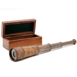 Old Modern Handicrafts Handheld Telescope with Wooden Case