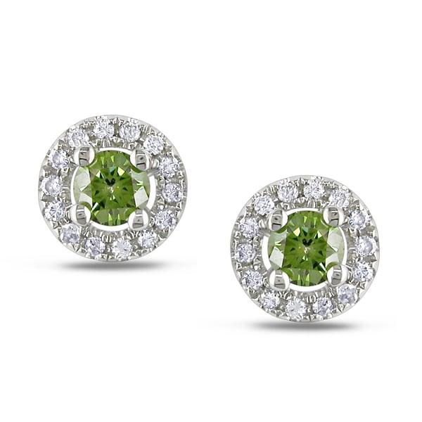 Miadora 14k Gold 1/2ct TDW Green and White Diamond Earrings (G-H, I1-I2)