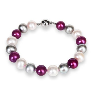 Miadora Sterling Silver Multi-colored FW Pearl Bracelet (10-11 mm)