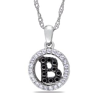 Miadora 14k White Gold 1/5ct TDW Diamond 'B' Necklace (G-H, SI1-SI2)