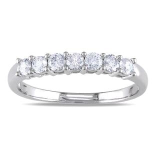 Miadora 14k White Gold 1/2ct TDW Certified Diamond Wedding Band (G-H, I1-I2)