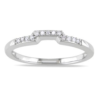 Miadora 10k White Gold Diamond Wedding Band