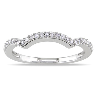 Miadora 14k White Gold 1/6ct TDW Curved Diamond Wedding Band (G-H, I1-I2)