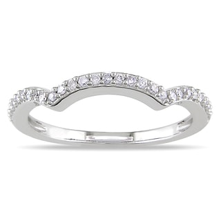 Miadora 14k White Gold 1/6ct TDW Curved Diamond Anniversary Ring (G-H, I1-I2)