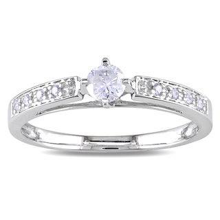 Miadora 10k White Gold 1/4ct TDW White Round Diamond Ring (H-I, I2-I3)