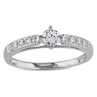Miadora 10k White Gold 1/4ct TDW White Round Diamond Ring (H-I, I2-I3)