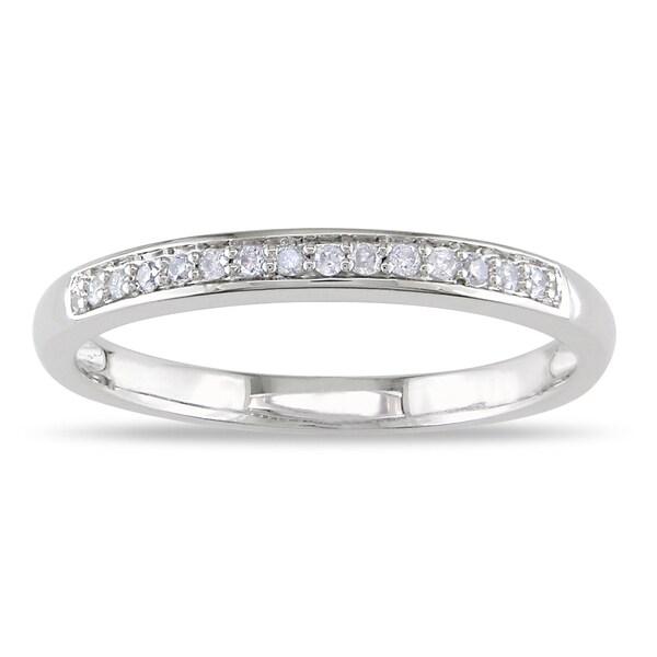 Miadora 14k White Gold 1/8ct TDW Diamond Wedding Band (H-I, I2-I3)