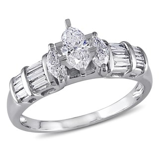Miadora 14k White Gold 1ct TDW Marquise Diamond Ring (G-H, I1-I2)