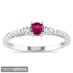 Miadora Sterling Silver Gemstone and Diamond Ring
