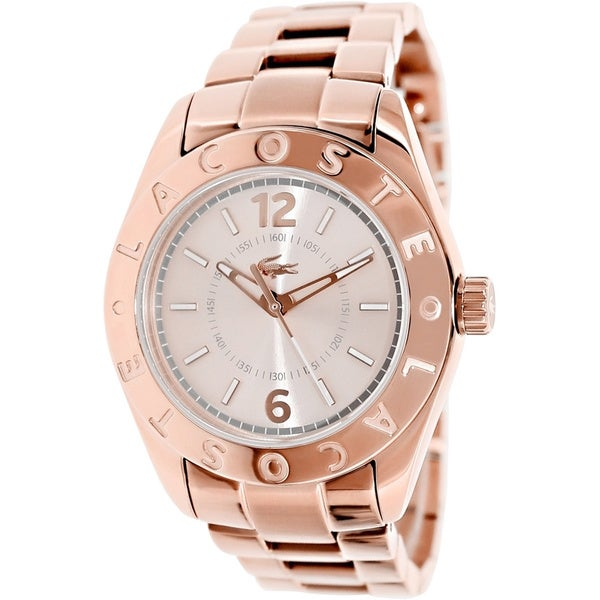 Lacoste Women's Biarritz 2000754 Rose-Gold Stainless-Steel Quartz Watch with Silver Dial