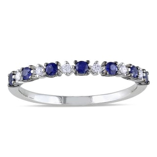 Miadora 14k White Gold Sapphire and Diamond Ring (G-H, SI1-S12)