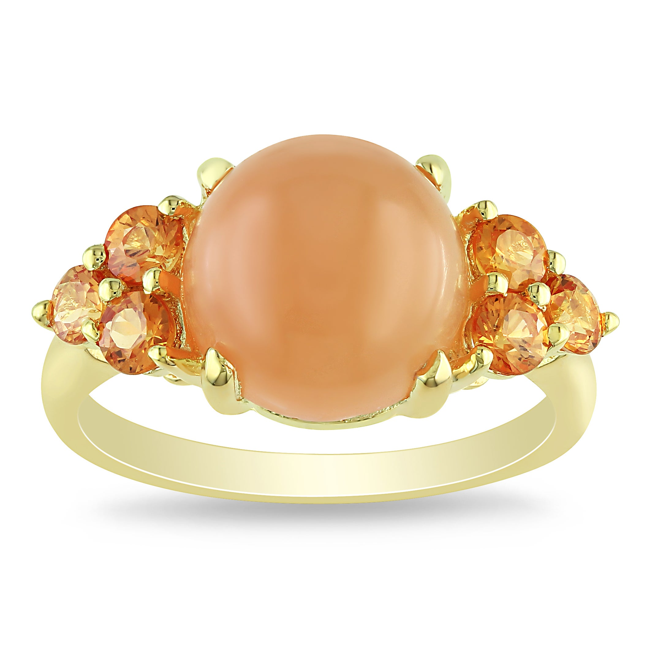Miadora Yellow-plated Silver Orange Moonstone and Sapphire Ring