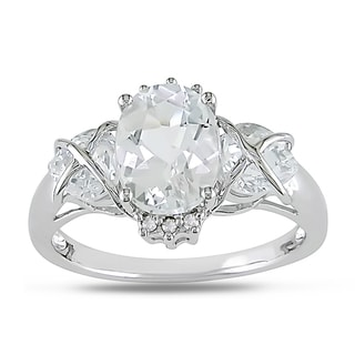 Miadora 10k White Gold White Topaz and Diamond Accent Ring