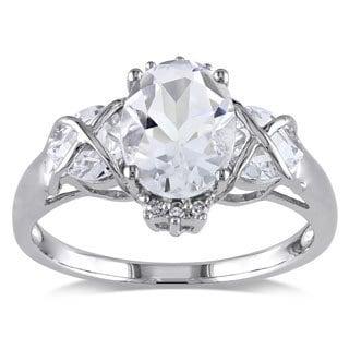 Miadora 10k White Gold White Topaz and Diamond Accent Ring