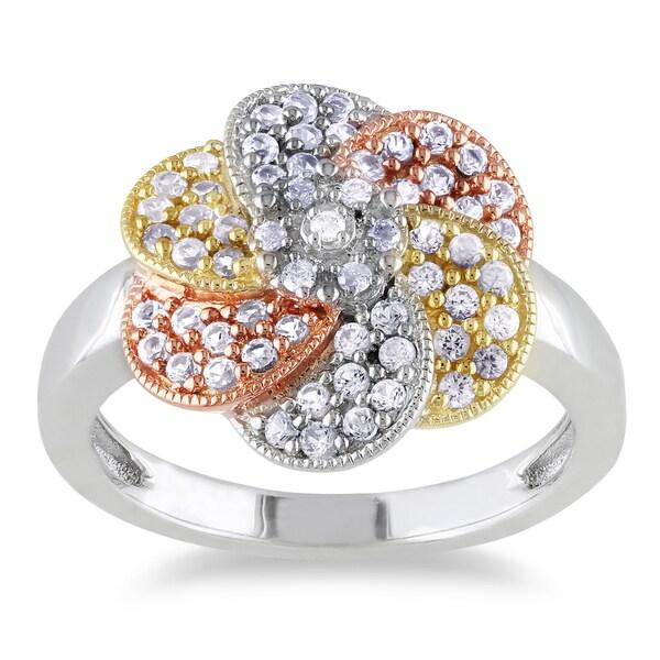 Miadora Tri-color Silver Created White Sapphire and Diamond Flower Ring
