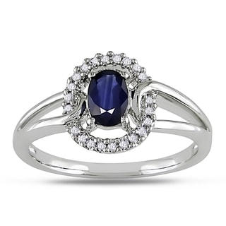 Miadora 10k White Gold Sapphire and 1/10ct TDW Diamond Ring (H-I, I2-I3)