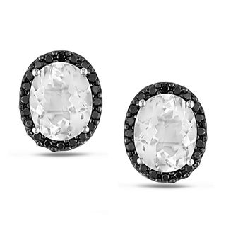 Miadora 14k White Gold White Topaz and 2/5ct TDW Black Diamond Earrings