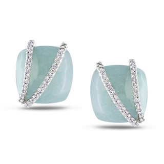 Miadora 14k Gold Aquamarine and 1/5ct TDW Diamond Earrings (G-H, I1-I2)