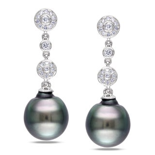 Miadora 14k Gold Tahitian Pearl and 1/5ct TDW Diamond Earrings (G-H, I1-I2)