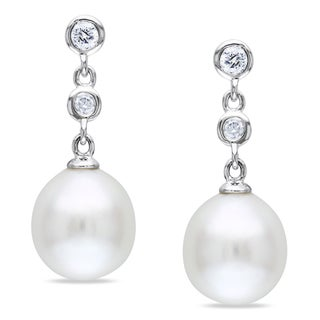Miadora 14k White Gold South Sea Pearl and 1/5ct TDW Diamond Earrings