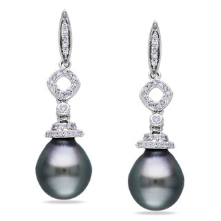 Miadora 14k Gold Tahitian Pearl and 1/5ct TDW Diamond Earrings (G-H, I1-I2)