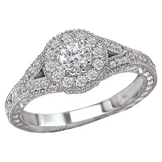 14k White Gold 2/5ct TDW Diamond Halo Engagement Ring (G-H, SI1-SI2)