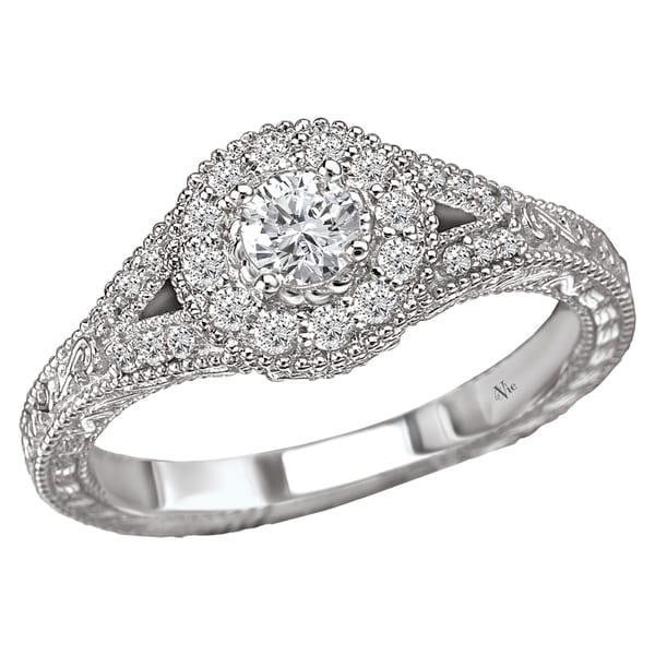 Avanti 14k White Gold 0.40CT TDW Vintage Style Engraved Diamond Halo Engagement Ring (G-H, SI1-SI2)