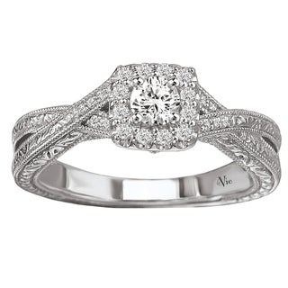 14k White Gold 3/8ct TDW Diamond Halo Engagement Ring (G-H, SI1-SI2)