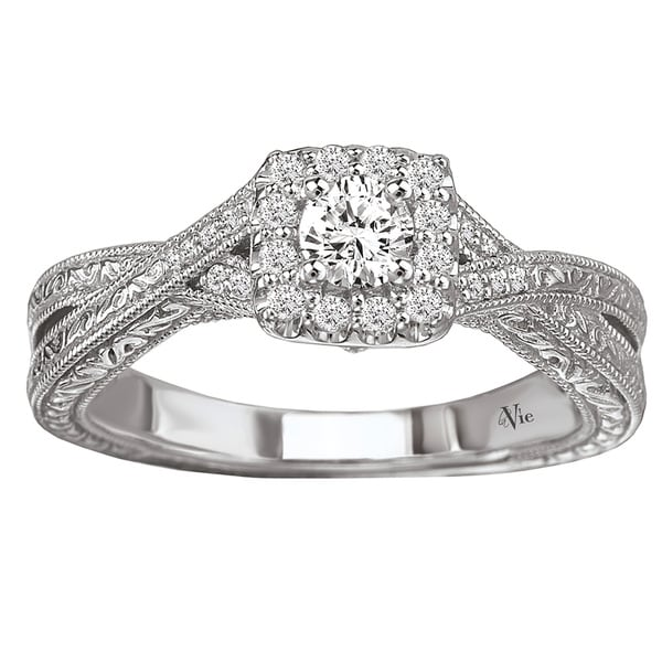 Avanti 14k White Gold 3/8ct TDW Diamond Halo Engagement Ring (G-H, SI1-SI2)