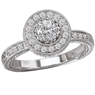 Avanti 14k White Gold 1/2ct TDW Diamond Halo Engagement Ring (G-H, SI1-SI2)