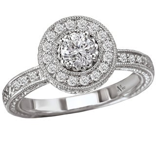14k White Gold 1/2ct TDW Diamond Halo Engagement Ring (G-H, SI1-SI2)
