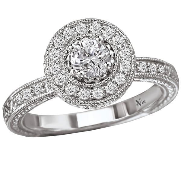 Avanti 14k White Gold 1/2ct TDW Diamond Halo Engagement Ring (G-H, SI1-SI2)