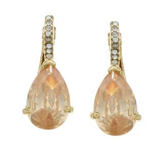 City by City City Style Goldtone Champagne and White Glass Earrings