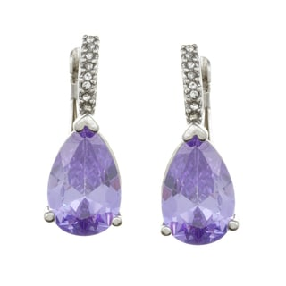 City Style Silvertone Purple and White Glass Earrings