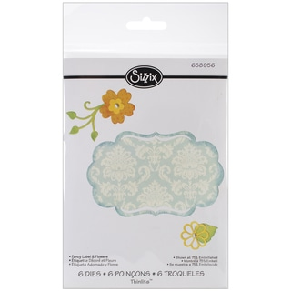 Sizzix Thinlits Die-Fancy Label & Flowers