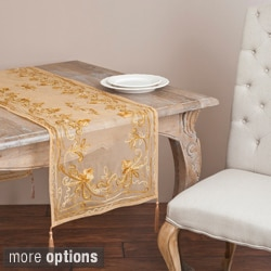 Saro 'Chenille' Mocha Floral Emrboidered Table Linen Topper or Table Runner