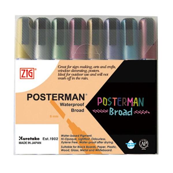 Zig Posterman Broad Metallic Marker Set (Pack of 8)