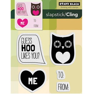 "Penny Black Cling Rubber Stamp 4""X5.25""-Guess Hoo"