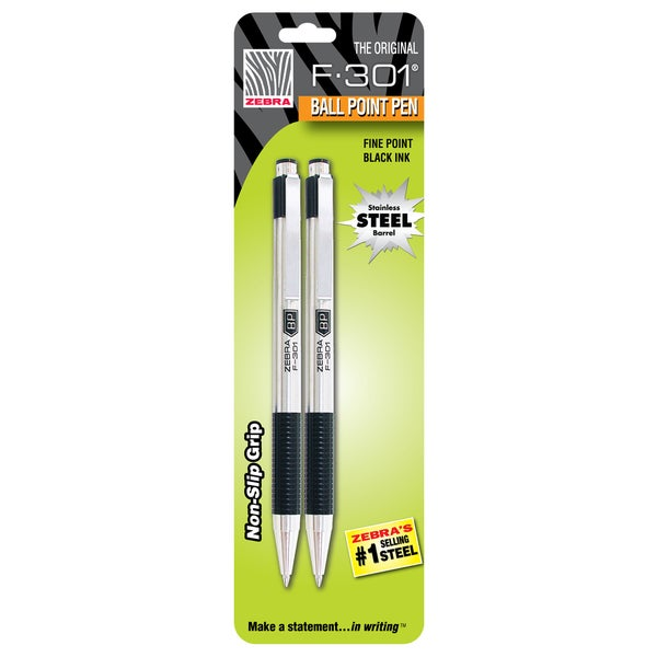 Zebra F-301 Black Fine Point Retractable Ballpoint Pens (Set of 2)