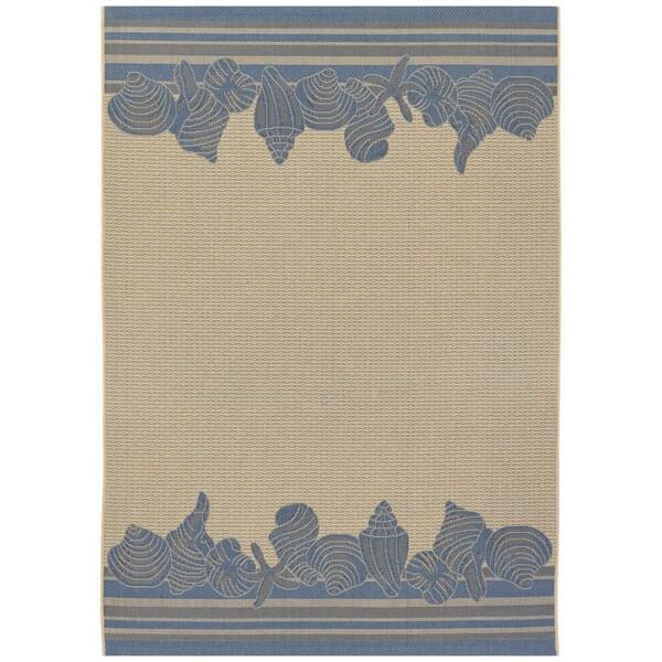 Five Seasons Shoreline/ Cream-Blue Area Rug (5'10 x 9'2)