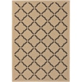 Five Seasons Sorrento Cream/ Black Rug (5'3 x 7'6)