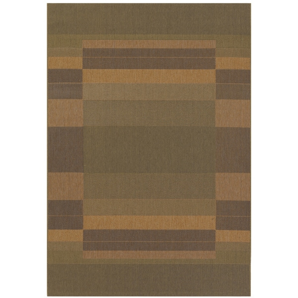 Five Seasons Rehoboth Green/ Natural Rug (3'7 x 5'5)