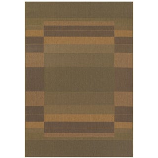 Five Seasons Rehoboth/ Green-Natural Area Rug (8'6 x 13')