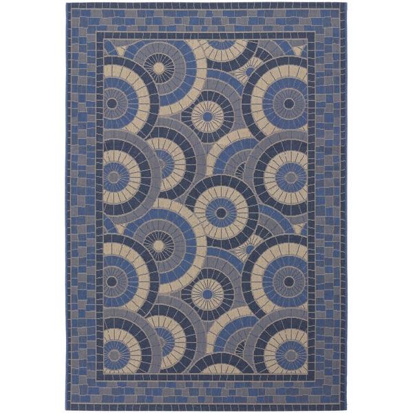 Five Seasons Sundial/ Cream-Blue Area Rug (7'6 x 10'9)