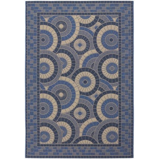 Five Seasons Sundial/ Cream-Blue Area Rug (5'3 x 7'6)