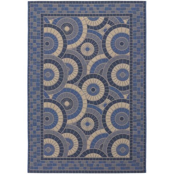 Five Seasons Sundial/ Cream-Blue Area Rug (5'3 x 7'6)