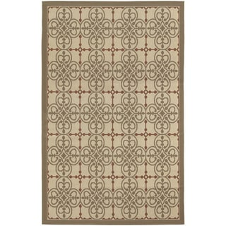 Five Seasons Delray/ Cream-Coral Red Area Rug (8'6 x 13')